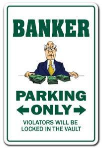 Nieuwe Bankier Decal Parking Decals Geld Lening Officer Morte Bank Teller Metalen Teken 8x12 inch