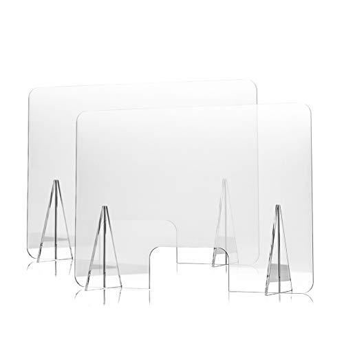 Mamparas Protectoras de Metacrilato para Mostrador, Mesa y Escritorio de Tienda, Oficina y Colegio - Pantalla Transparente de 120 x 100 cm/Ventanilla de 30 x 20 cm/Grosor de 5 mm - Pack de 2uds