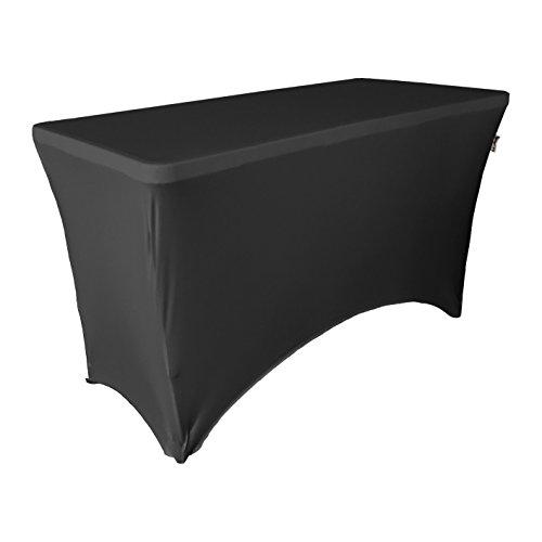 LA Linen Mantel Rectangular de Licra, 100 x 30 x 30 Pulgadas, Color Negro, Microfibra de poliéster y Elastano, 109 x 63 x 0.6 cm