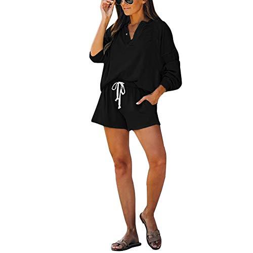 Mujeres Llanura De Piezas Casual Manga Relajado Dos Festivo Larga con Cuello En V Camisetas Trajes Primavera Otoño Moda Simple Básico Pantalones Cortos De Pierna Recta Dos Piezas