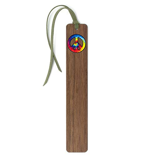 Peace Sign Tie Dye Handmade Wooden Bookmark with Suede Tassel
