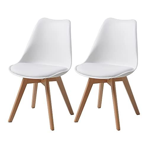 ALBATROS Esszimmerstühle AARHUS 2-er Set, Weiss mit Beinen aus Massiv-Holz, Buche, skandinavisches...
