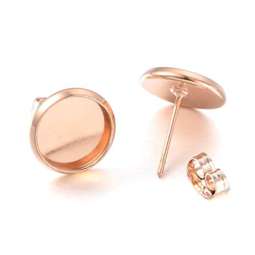 Kissitty 50 Sets Rose Gold Plated Brass Post Earring Studs Set Flat Round Blank Bezel Tray Cabochon Setting with Earring Backs Fit for 10mm
