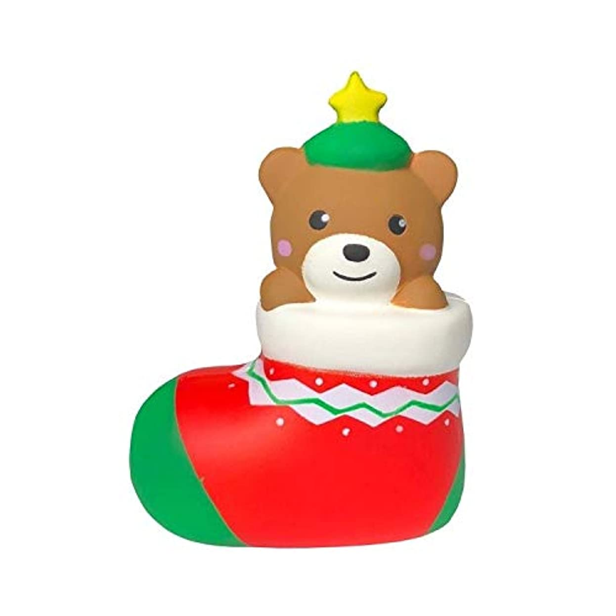 刻むスポンジ発生するソフトタッチ 少年少女のためのギフトSquishies、13センチメートルクリスマスソックスベアフワフワ、クリーミーアロマスローライジングスクイーズおもちゃ おもちゃを解凍する