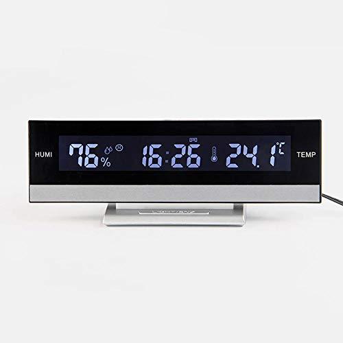 Anclok wekker met achtergrondverlichting, elektronisch, draagbaar, groot lcd-display, multifunctioneel, temperatuur, luchtvochtigheid, accu voor op het bureau