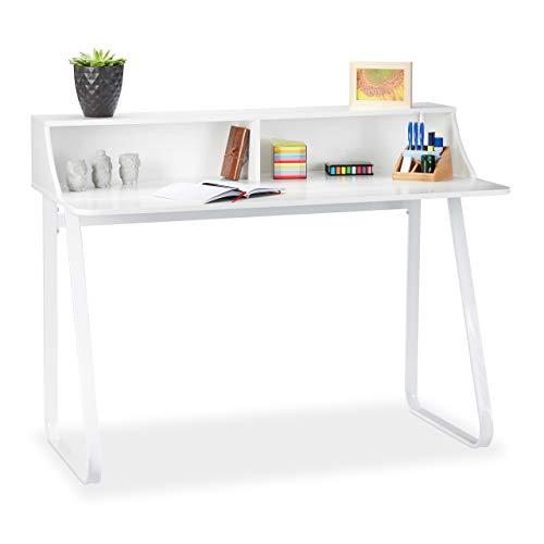 Relaxdays Weiß, Schreibtisch, Bürotisch mit Fächern & Ablage, Computertisch aus Metall & MDF, HBT 92 x 120 x 60 cm, White