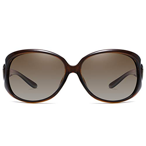 Duco Women's Shades Classic Oversized Polarized Sunglasses 100% UV Protection 1220 Brown