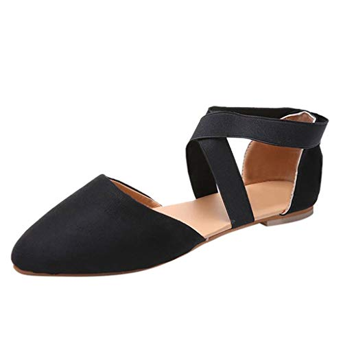 Sandales Bas Talon Femme,Honestyi Chaussures Chic Léopard Escarpins Plates Ete Sandales Plates à Lacets Chaussures Pointu Mode Casual Shoes