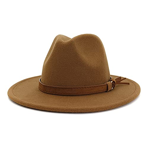 HUDANHUWEI Unisex Wide Brim Felt Fedora Hats Men Women Panama Trilby Hat with Band Khaki L (Head Circumference 22.8'-23.6')