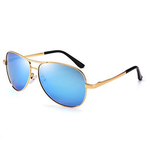 wgg De Venta Libre Las Gafas de Sol de los Hombres, la Lente polarizadora Que bloquea el deslumbramiento y los Rayos Ultravioleta y restaura los Colores Verdaderos. Vasos Ligeros (Color : Gold)