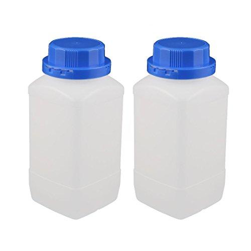 Aexit 2 piezas 1000ml plástico cuadrado boca ancha muestra química (model: M9892IXII-9743NR) reactivo botella engrosamiento