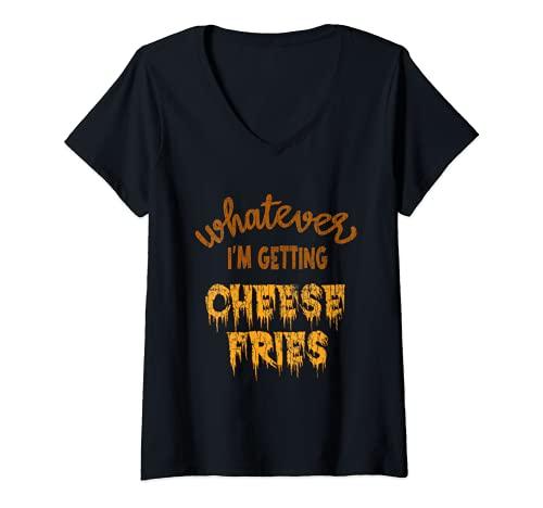 Mujer Grfico divertido de comer para amantes de la comida con papas fritas con queso Camiseta Cuello V