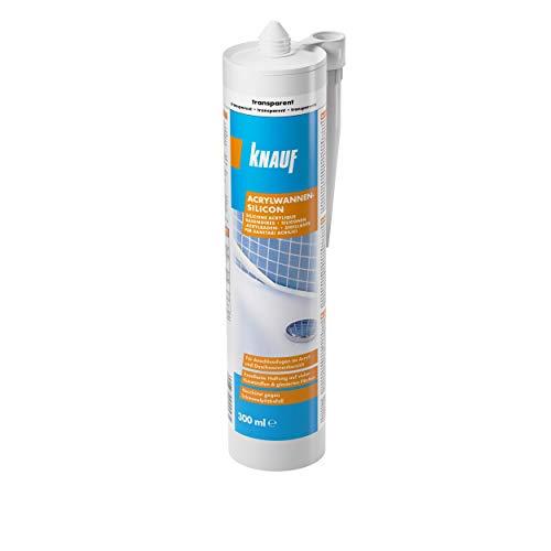 Knauf Acrylwannen-Silicon zur Abdichtung von Kunststoffen – Anti-Schimmel Sanitär-Silikon für Badewanne, Dusche oder Fenster-Rahmen, UV- und witterungsbeständig, 300-ml, Transparent
