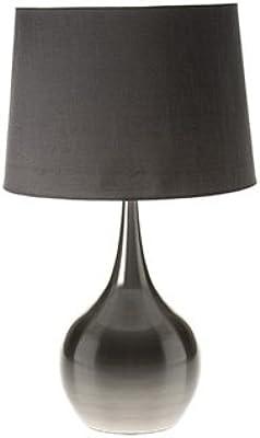 DOWNTON INTERIORS Lámpara de Mesa Grande de Color Plateado y Gris, Estilo contemporáneo, Salones y dormitorios