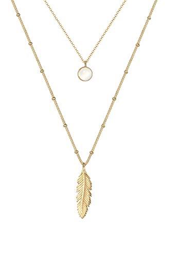 Elli Halskette Damen Kugelkette Layer-Look Feder Mondstein in 925 Sterling Silber