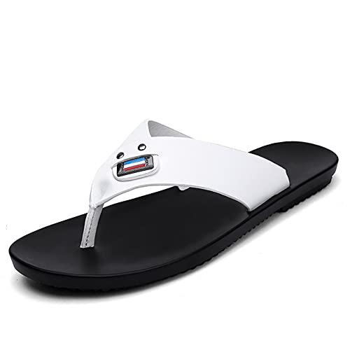 LSDTZ Hombres Sandalias Flip- flop Zapatos De Playa De Piel De Vaca Chanclas Sandalias De Cuero Sandalias Casuales Para Hombres Verano (Color : White, Size : 44yards)