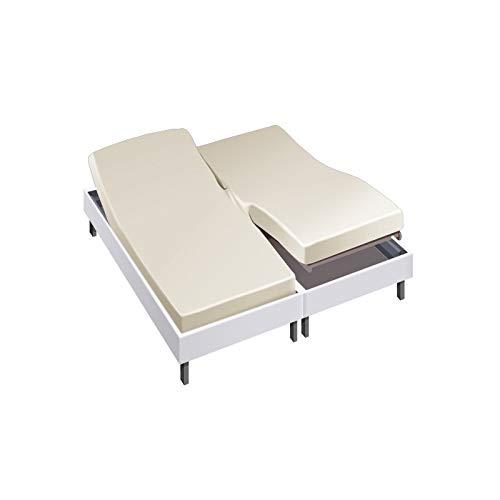 Drap House pour lit articulé 2x80x200 en Percale Ecru - Couleur: Ecru