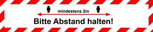 Aufkleber Bitte Abstand halten Aufkleber 100x15 | Warn-Hinweis-Bodenaufkleber Abstandsregeln | Klebeband Abstand | STOP! Bitte 2m Abstand zum nächsten Kunden Corona-Schutz | Displayhersteller