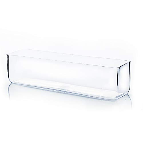 """WGV Rectangle Block Glass Vase, Width 4"""", Length 16"""", Height 4"""", Clear Long Floral Container, Candle Holder for Home Office Wedding Decor, 1 Piece"""