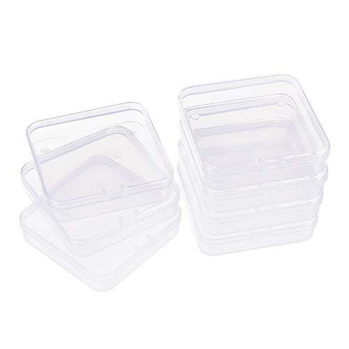BENECREAT 14-Pack, quadratische durchsichtige Kunststoffperlen-Aufbewahrungsbehälter Schachtel mit Klappdeckeln für Kleinteile, Pillen, Kräuter, kleine Perlen, Jewerlry-Ergebnisse(7,2 x 7,2 x 1,7cm)