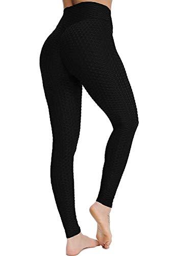 ASKSA Damen Sporthose Anti-Cellulite Compression Leggings Slim Fit Butt Lift Elasticated Trousers Jogginghose(Schwarz,L)