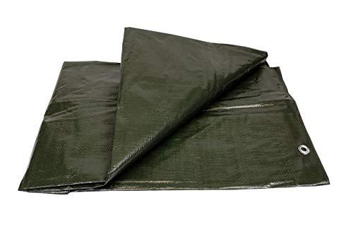 Lona Impermeable Exterior (120g. 3 x 4 m.) Reforzada con Ojales de Acero Inoxidable. - Para Leña y Objetos de Jardín, Vehículos, Protección contra UV. Color Verde