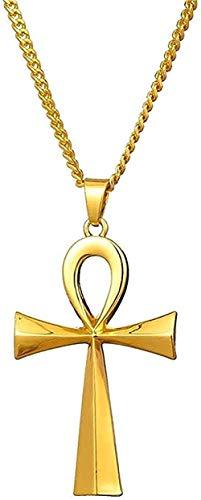 YOUZYHG co.,ltd Collar Colgante de Cruz Egipcia Collar para Mujer y Hombre Llaves de la Vida Joyería Egipcia Acero Inoxidable