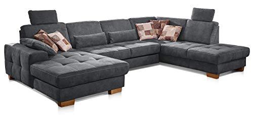 Cavadore Wohnlandschaft Puccino mit Federkern, Bettfunktion, Sitztiefenverstellung und 2 Kopfstützen, Sofa in U-Form im Landhausstil, 340 x 86 x 224 cm, Mikrofaser grau