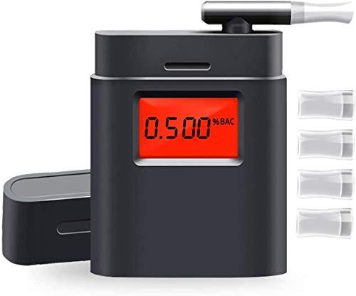 Micoo Professioneller Alkoholtester Tragbar Halbleiter Sensorik Digitaler Atemalkohol LCD Anzeige Promille-Tester Polizeigenau, Schwarz