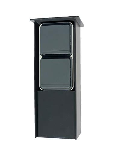 Jehoka E-zuil 250 uitgerust met Berker schakelaarprogramma (antraciet) Berker schemerschakelaar & stopcontact (grijs)