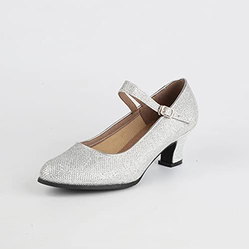 ZJHTK Ladie Zapatos de danza de tango latino, zapatos de baile de tango, parte inferior suave, estilo de hebilla de lentejuelas, cómodo, antideslizante, para fiesta de salón, plata, 5 Reino Unido
