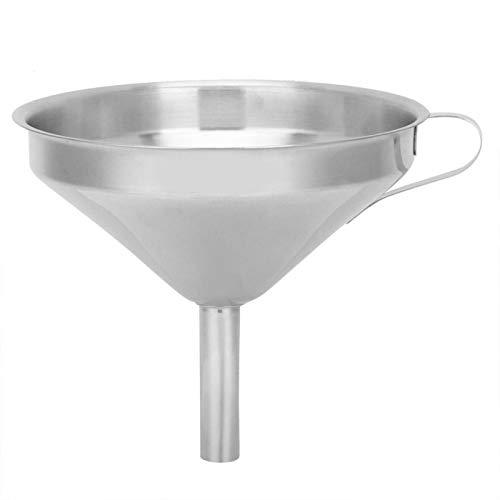 Embudo de acero inoxidable, embudo de aceite de boca ancha de cocina de acero inoxidable con filtro colador para transferir líquido