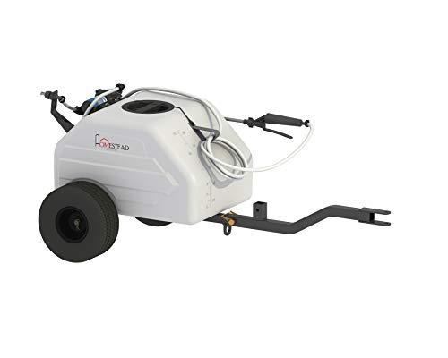 Homestead SL6-46-012Q-HS 12 Gallon Pull & Tow Boom Broadcast Trailer Sprayer – Everflo 1.1GPM, White