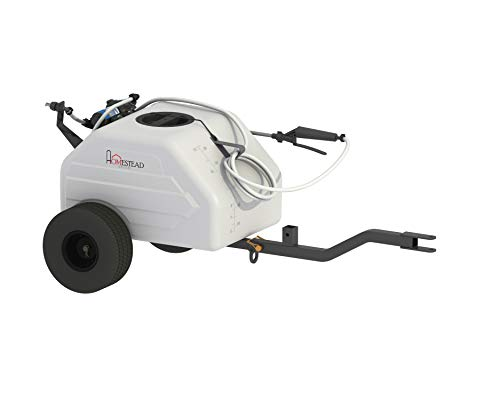 Homestead SL6-46-012Q-HS 12 Gallon Pull & Tow Boom Broadcast Trailer Sprayer – Everflo 1.1GPM, White