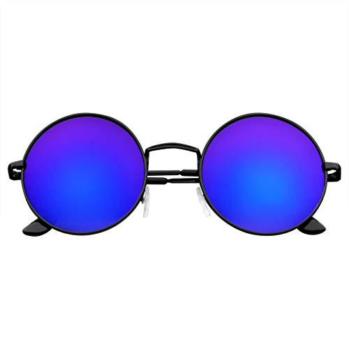 Emblem Eyewear John Lennon inspiriert Sonnenbrille Runde Hippie Schattierungen Retro Farbige Linsen (Blue Ice)