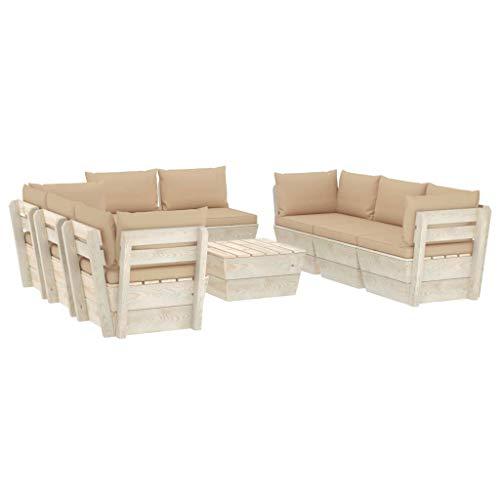 vidaXL Madera de Abeto Muebles de Jardín de Palets 9 Piezas y Cojines Exterior Terraza Hogar Mobiliario Cocina Mesa Asiento Silla Suave Respaldo