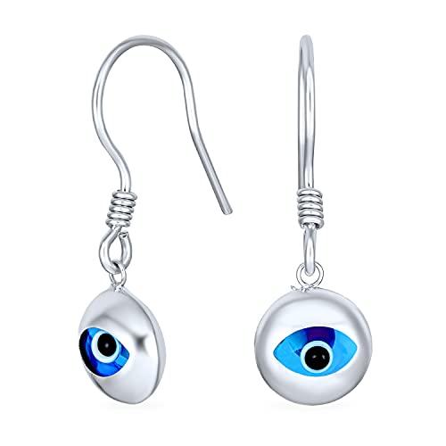 Amuleto de protección espiritual turca azul Nazar mal círculo redondo colgar pendientes para las mujeres adolescente Murano vidrio .925 sterling silver fish hook