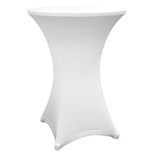Lumaland hochwertige Stehtischhusse Tisch-Überzug Husse pflegeleicht abwischbar Stretch schnelltrocknend Ø 80-85cm Weiß