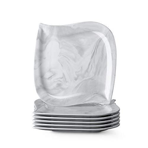 MALACASA, Serie Elvira, 6 teilig Set Marmor Porzellan Kuchenteller Dessertteller Frühstücksteller 8,5 Zoll / 21,5x21x2cm für 6 Personen