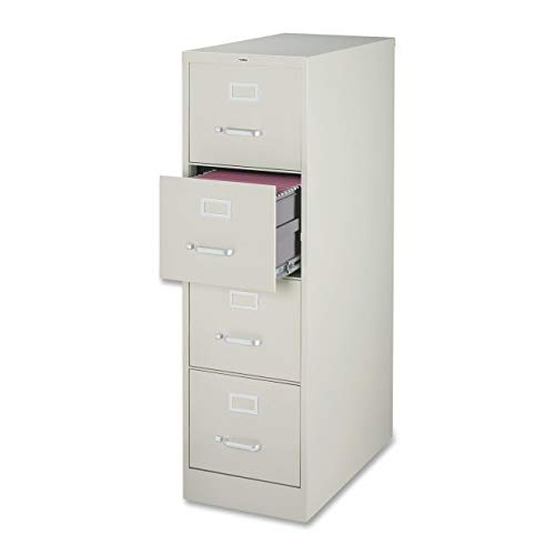 Lorell 4-Drawer Vertical File, 18 by 26-1/2 by 52-Inch, Light Gray