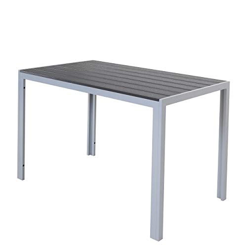 Chicreat Aluminium Table with Polywood Surface, Silver and Black, 180 x 90 x 75cm