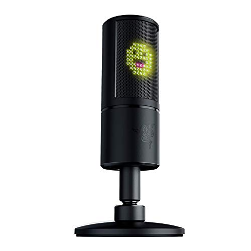 Razer Seiren Emote Streaming Microphone: 8-bit Emoticon LED Display, Stream Reactive Emoticons, Hypercardioid Condenser Mic, Built-in Shock Mount, Height & Angle Adjustable Stand, Classic Black