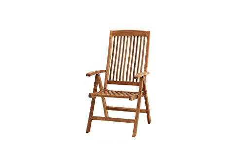 Ploß Hochlehner-Klappsessel Arlington - Premium Teakholz-Sessel mit FSC-Zertifikat - Terrassensessel klappbar - Holz-Gartenstuhl Braun - Gartensessel mit Hochlehne ergonomisch & 5-fach verstellbar