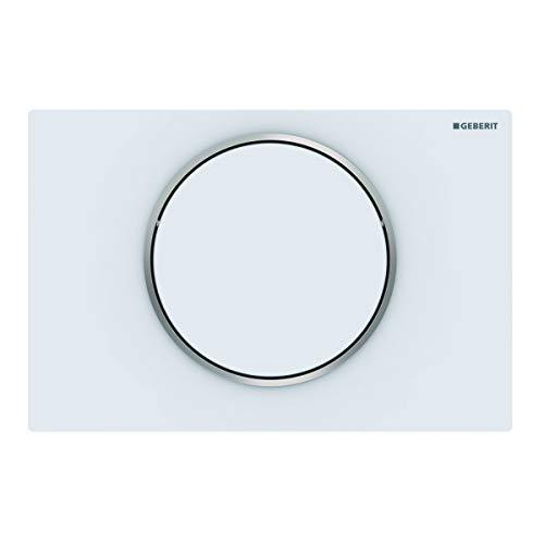 Geberit 115758JT5 Sigma 10 - Pulsador para cisterna de cisterna (para cisterna delantera, placa + botones, blanco mate, anillo de diseño pulido)