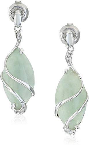 .925 Sterling Silver & Green Jade Diamond-Accented 3/4