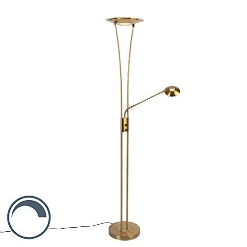 QAZQA Moderno Uplighter art deco bronce LED flexo - IBIZA Acero/Vidrio Alargada Incluye LED Max. 1 x 20 Watt
