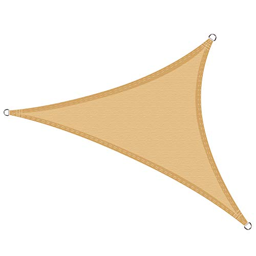 Cool Area Toldo Vela de Sombra Triangular 3.6 x 3.6 x 3.6 Metros, Impermeable Protección UV para Patio Exteriores Jardín, Color Arena