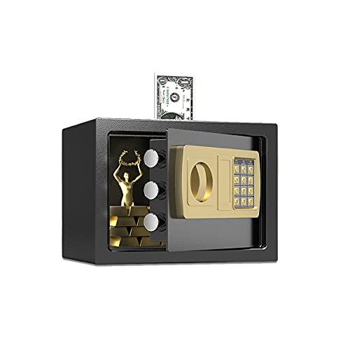 GLXYTT Caja Fuerte con Monedas, Caja Fuerte con Teclado Digital, Hucha para Oficina En Casa, Hotel, Negocios, JoyeríA, Pistola, Uso En Efectivo, Almacenamiento,Negro