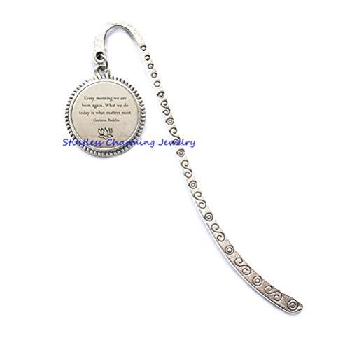 Buddha Quote Bookmark, Motivational Wisdom Bookmarker, Inspirational Yoga Jewelry Glass Dome Cabochon Bookmark-JP343 (C1)