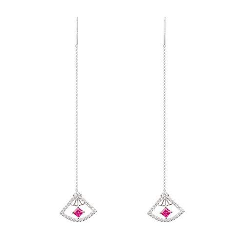 ZHH Earring Jewelry Women's Stud 925 Silver Fan Ear Wire a Pair of Hand-Set Best Gift Gift Box,Silver